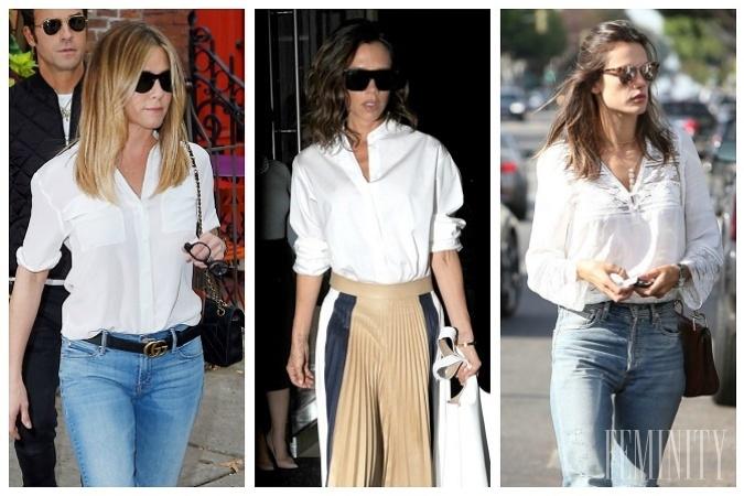 8e846d62d4 Biela košeľa v podaní známych celebrít na 5 rôznych spôsobov  Ktorá ...