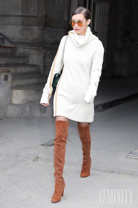 353d9446156e Hnedé čižmy nad kolená kombinujte s bielou farbou alebo krémovymi odtieňmi