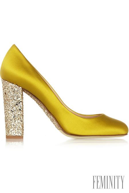 068cc90f17 Topánky s trblietavým podpätkom v zaujímavom žlto-zlatom prevedení sú  absolútne originálne